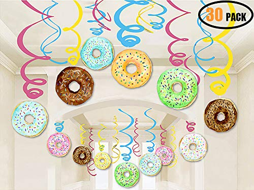 DOLM 30 PCS Donut Hanging Swirl Decorations - Donut Party Supplies,Breakfast/Slumber Birthday Party Hanging Swirl Home Ceiling Decorations