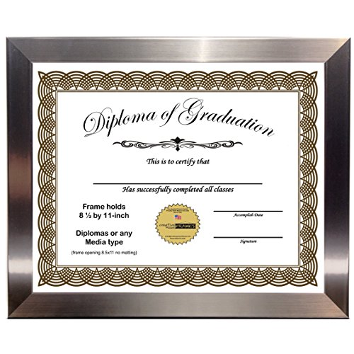 - CreativePF [8.5x11ss] Stainless Steel Finish Diploma Frame Displays 8.5 by 11-inch Certificate, Graduation, University, Diploma Frames with Stand & Wall Hanger (Pack of 1)