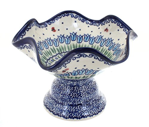 Blue Rose Polish Pottery Garden Tulip Pedestal Candy Dish