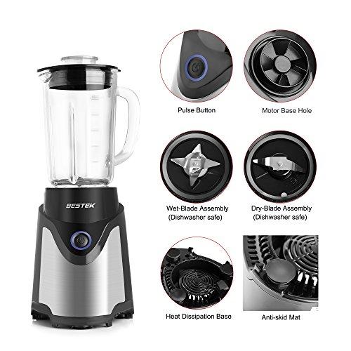 BESTEK BL15 Personal Blender and Coffee Grinder 2-in-1, Single Serve Smoothie Milk-shake Maker ...