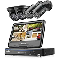 SANNCE Video Monitoring System 4CH 720P DVR Recorder with 1080N 10.1'' LCD Combo and (4) Surveillance Cameras Support P2P Technology, QR Code Scan Phone Remote Access Viewing -No HDD
