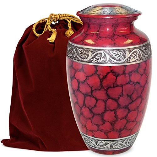 Celebration of Life Red Adult Cremation Urn for Human Ashes - Share Your Special Love with This Large Classic Comforting Urn - This Beautiful Urn Makes A Nice Tribute to Your Loved One - w Velvet Bag