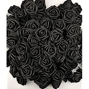 Lightingsky 7cm DIY Real Touch 3D Artificial Foam Rose Head Without Stem for Wedding Party Home Decoration (100pcs, Black) 2