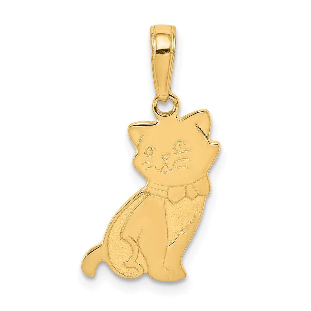 21mm x 10mm Mia Diamonds 14k Solid Yellow Gold Sitting Cat Pendant