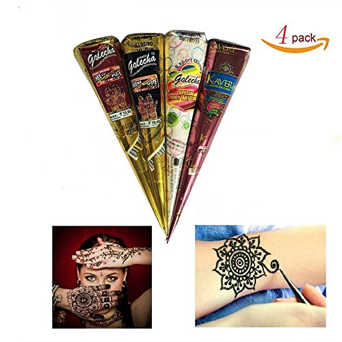 A-Parts 4Pcs/set Black Dark Red White Brown Temporary Tattoo Paste Cone for DIY Art Drawing with a Free Henna Stencil Set