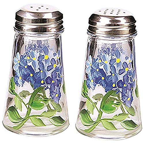 Grant Howard Hand Painted Tapered Salt and Pepper Shaker Set, Blue Hydrangeas, Blue - Hand Painted Salt Pepper Shakers