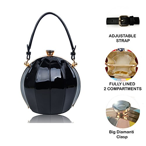 Ball bag Women's Handbag Shoulder 22x21x17 Diamante Size Shape Leather cm Patent Clutch Clasp Silver Shinny 0tax8tv