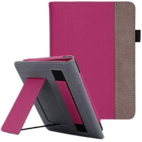 WALNEW Stand Case Fits Kindle Paperwhite 10th Generation 2018 PU Leather Case Smart Protective Cover with Hand Strap (HotPink)