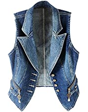 Kedera Women's Lapel Washed Denim Vest Button Up Waistcoat Jacket