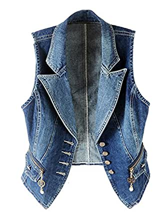 Kedera Women's Lapel Washed Denim Vest Button Up Waistcoat Jacket - Blue - X-Small