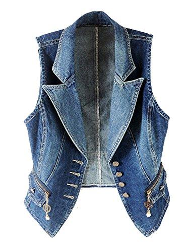 (Kedera Women's Lapel Washed Denim Vest Button Up Waistcoat Jacket (Large))