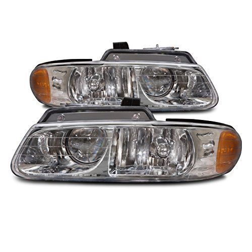 HEADLIGHTSDEPOT Compatible with Chrysler Town & Country W/Quad Headlights Headlamps Driver/Passenger Pair New