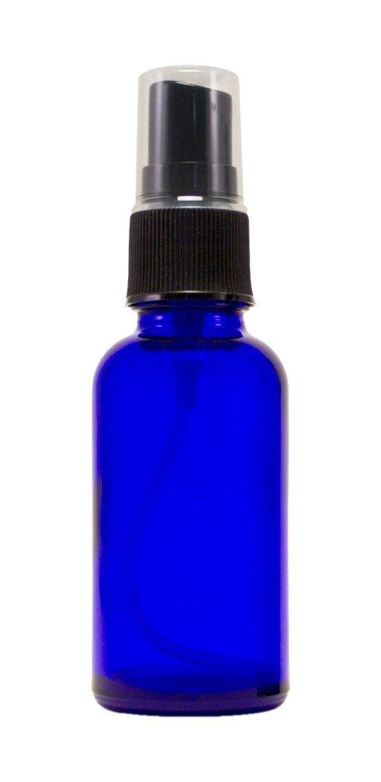 GPS Cobalt Blue Boston Round Glass Bottle with Black Fine Mist Sprayer, 2 Oz, Set of 12