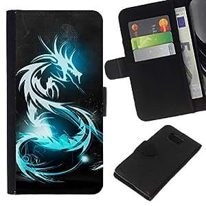 NEECELL GIFT forCITY // Billetera de cuero Caso Cubierta de protección Carcasa / Leather Wallet Case for Samsung ALPHA G850 // BLUE GLOW DRAGÓN TRIBAL