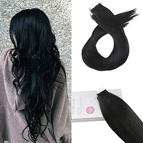Moresoo 22 Inch Glue in Remy Hair Extensions 100% Real Brazilian Hair Jet Black Color #1 Human Hair Soft and Thick Tape in Human Hair Extensions 20pcs/50g
