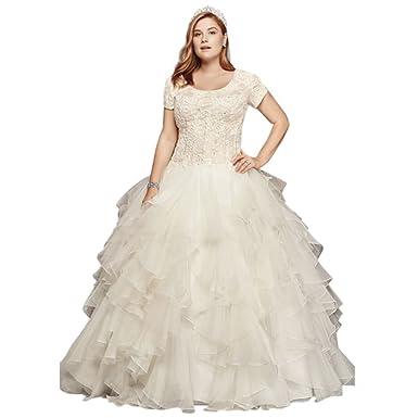 David\'s Bridal Oleg Cassini Plus Size Modest Ruffle Wedding Dress ...