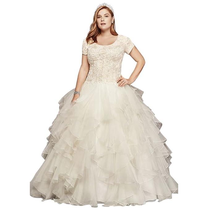 Oleg Cassini Plus Size Modest Ruffle Wedding Dress Style ...