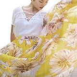 Ladies Maxi Skirts Spring Summer Floral Print Fashion Casual Pleated Bohemia Big Long Skirt (L, Yellow)