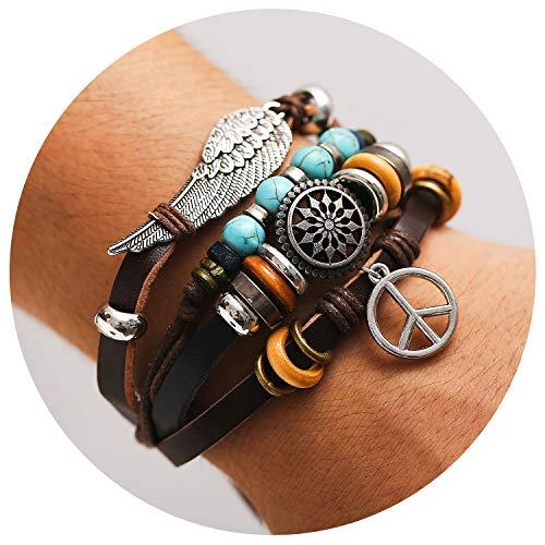 - 77Fine Leather Wrap Boho Bracelet Wing Turquoise Peace Brown Bracelet for Man Woman