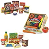 Melissa & Doug Wooden Fridge Food Set, Pantry Products, and Playtime Veggies