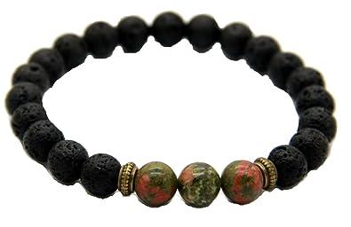 JY Jewelry 8mm Beaded Picasso Jasper Lava Stone Stretch Yoga Bracelets