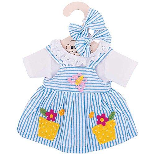 Rag Doll Accessories (Bigjigs Toys Blue Striped Rag Doll Dress for 13