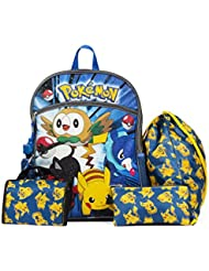 Pokemon Blue and Yellow 16 Backpack Back to School Essentials Set