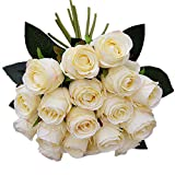 JAROWN 18 Heads Artificial Silk Flowers Bouquet Real-like Roses for Wedding Bouquet Bridal Lace Decoration (Champagne)