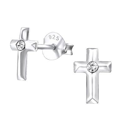 Meyiert 925 Sterling Silver small Cross Stud Earrings with Cubic Zirconia MRLEX