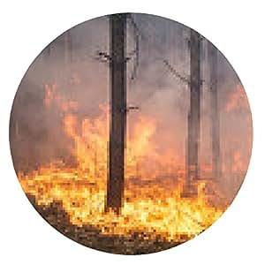 my-puzzle-design alfombrilla de ratón El desarrollo de los incendios forestales. Llama grande se mueve hacia arriba - ronda - 20cm