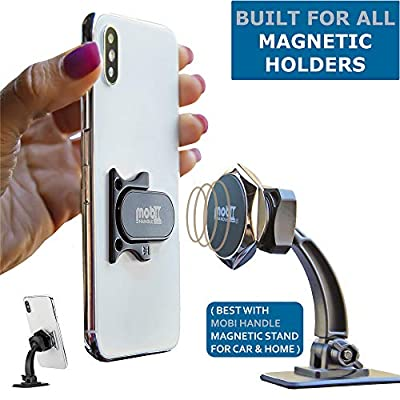 MOBI HANDLE Phone Ring Holder - 3-Finger Grip Kickstand, Comfortable Slim Secure, Durable Metal, Ideal for Magnetic Car Mounts, Selfies, Texting or Travel (Black)