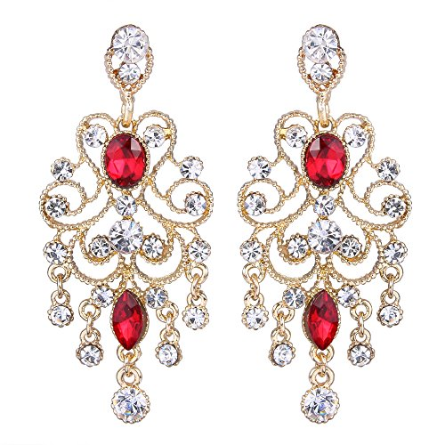 (BriLove Wedding Bridal Dangle Earrings for Women Vintage Style Crystal Drop Hollow Filigree Chandelier Dangle Earrings Ruby Color Gold-Toned)
