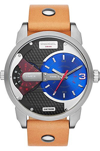 (Diesel Mini Daddy Blue and Black Dial Tan Leather Mens Watch DZ7308 )