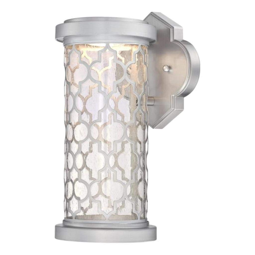 Westinghouse 6358400 Ariss One-Light LED Outdoor Wall Fixture Finish with Clear Seeded Glass, Nickel Luster