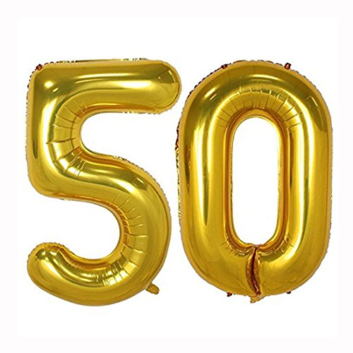 40inch Gold Foil 50 Helium Jumbo Digital Number Balloons, 50th Birthday Decoration for Women or Men, 50 Year Old Birthday Party Supplies 50 Year Old Birthday Invitations