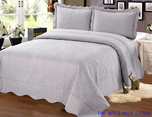 Embroidered 3 Piece Bedding Bedspread / Quilt Set with 2 Pillow Sham, Steel Gray by sazana