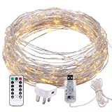 200 LED Bendable Copper Wire Lights, 8 Modes 66ft Fairy Starry Lights with Timer USB Port and BS Plug in for Wedding Christmas Party Bedroom Indoor Outdoor Decorative (Warm White)