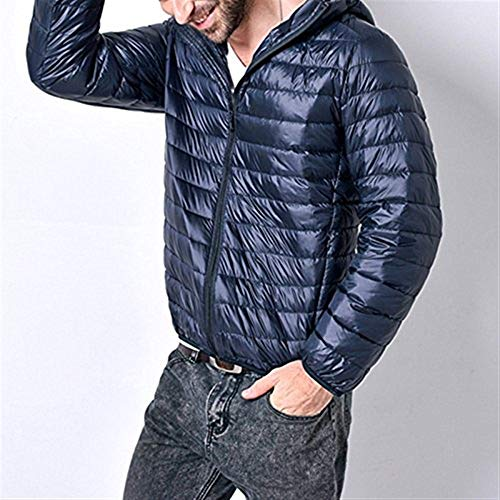 Jacket Fall High Mens Fashion Hooded Blau Young Cotton Parka Coat Jacket Jacket Winter Down with Collar fqdTf4n