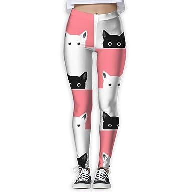 Pantalón de yoga para niña Negro Blanco Rosa Patrón de gato ...