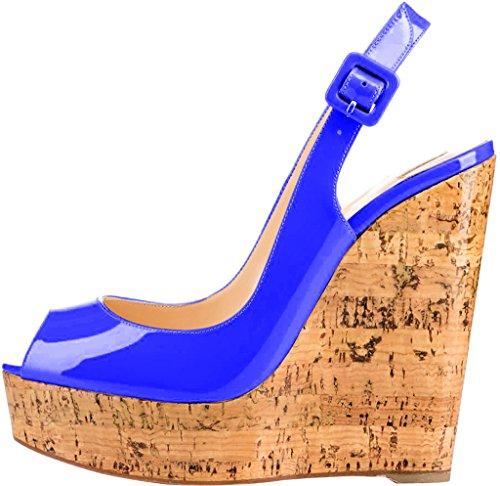 Trusify Mujer 12cm EU tamaño 34-46 Truabandon Tacón ancho 12CM Sintético Sandalias de vestir Azul
