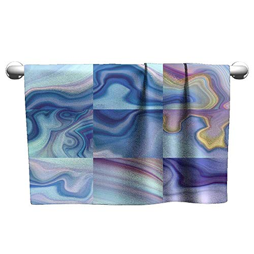 Andasrew Premium Abstract Marbled Background Agate Slab Decorative Paint Texture Liquid marbling Effect Creative Painted Wallpaper Pink Blue Macro Wavy Lines,Beach Poncho Towel for Kids ()