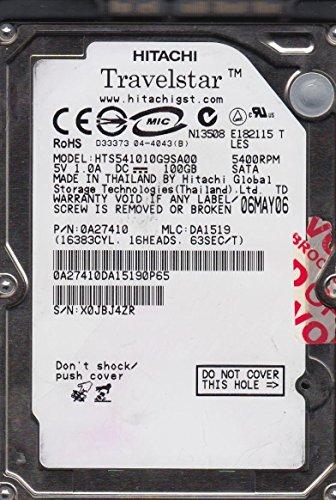 HTS541010G9SA00, PN 0A27410, MLC DA1519, Hitachi 100GB SATA 2.5 Hard Drive 100 Gb Sata Hard Disk
