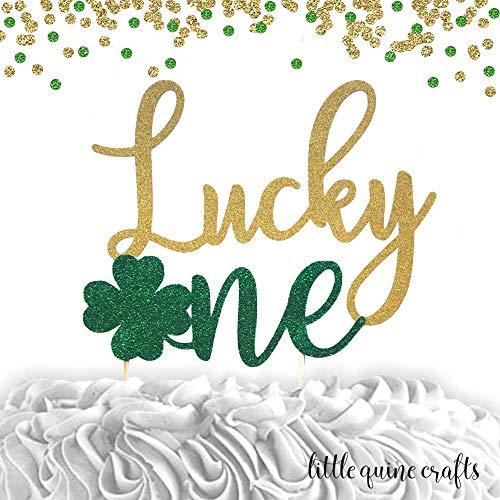 1 pc Lucky One Shamrock Clover St Patrick Theme Green Gold Glitter Cake Topper for first Birthday Baby girl boy cake smash