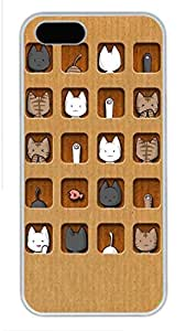iPhone 5 Cases, Personalized Custom Case for iPhone 5/5S PC White Edge Cover Cute Cats
