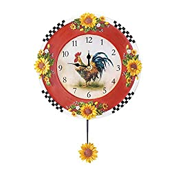 Country Rooster Sunflower Pendulum Wall Clock