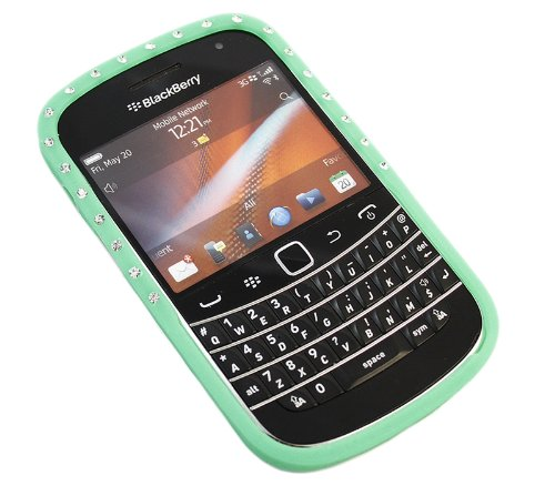 iTALKonline BlackBerry 9900 Bold Touch Green Bling Diamond Silicone Soft Gelly Jelly Skin Case Protective Cover
