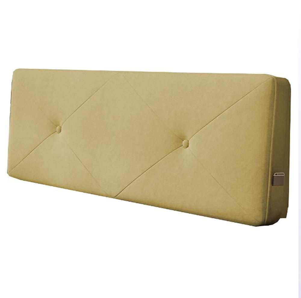 LXLIGHTS 布張りのヘッドボード ベッドサイドクッション 腰椎枕 ベッドくさび ウエストパッド 大きいあと振れ止め、 ホーム、 7色、 5サイズ (Color : Yellow, Size : With headboard-120cm) B07SZTXX15 Yellow With headboard-120cm
