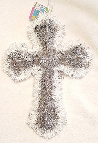 Greenbrier Easter Cross of Silver Tinsel Edged in White