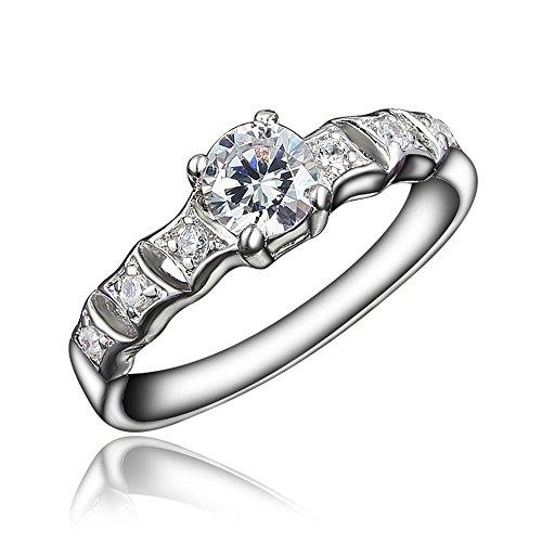 18K Gold Romantic Wedding Engagement Ring For Women Girls Size 6 Fashion Jewelry (Size US6, US7,US8,US9)