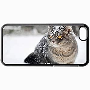 Fashion Unique Design Protective Cellphone Back Cover Case For iPhone 5C Case Cat Snow Winter Cats Black